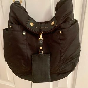 Marc by Marc Jacobs Black Leather & Nylon Hobo Bag